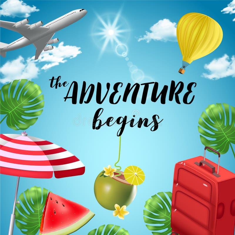 Fundo do vetor com elementos da praia e do curso tourism Viagem em torno do mundo Fundo para o agente de viagens ilustração stock