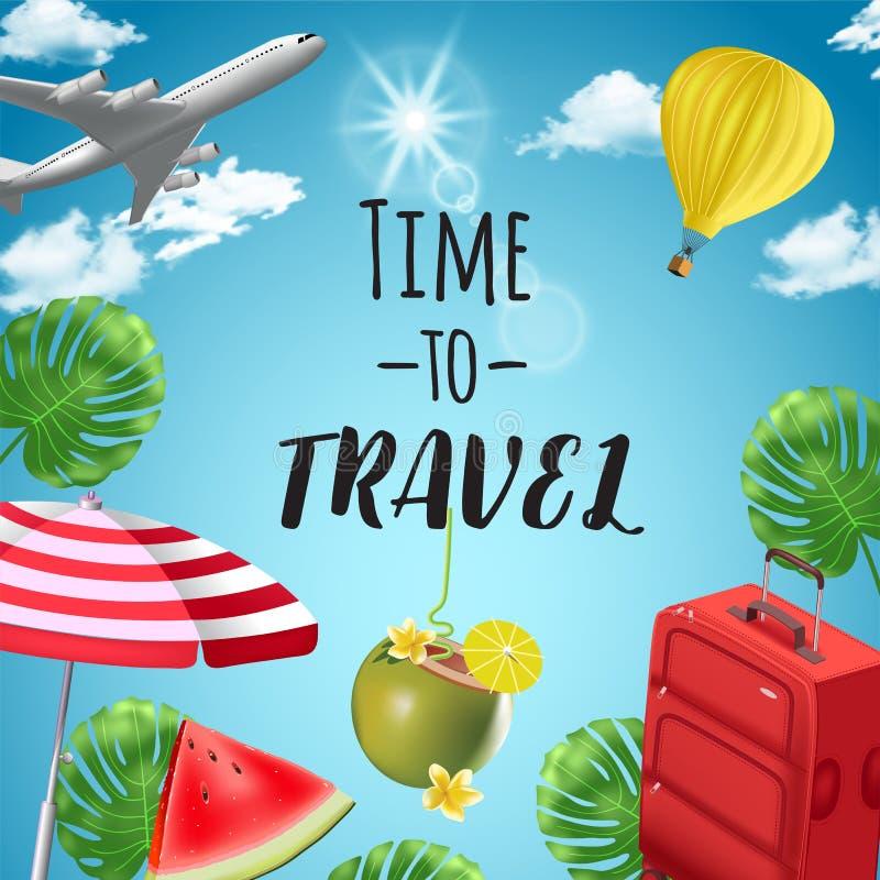 Fundo do vetor com elementos da praia e do curso tourism Viagem em torno do mundo Fundo para o agente de viagens ilustração do vetor