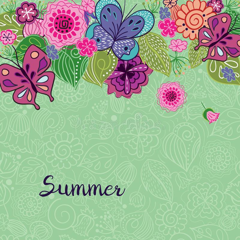 Fundo do vetor com elementos naturais Rabiscar o teste padrão floral no estilo popular com lugar para o texto ilustração do vetor