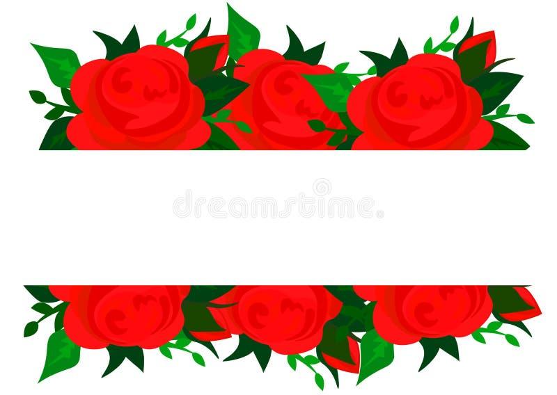Fundo do vetor com flores das rosas e as folhas verdes ilustração stock