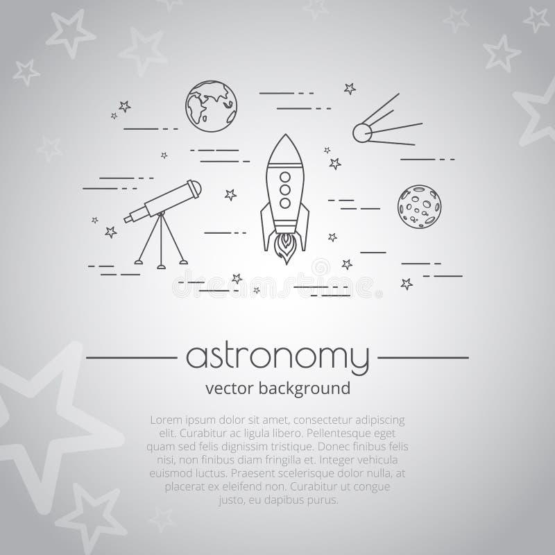 Fundo do vetor com ilustração da vida do espaço Grupo de linha ícones da astronomia Astronomia - citações da tipografia ilustração do vetor