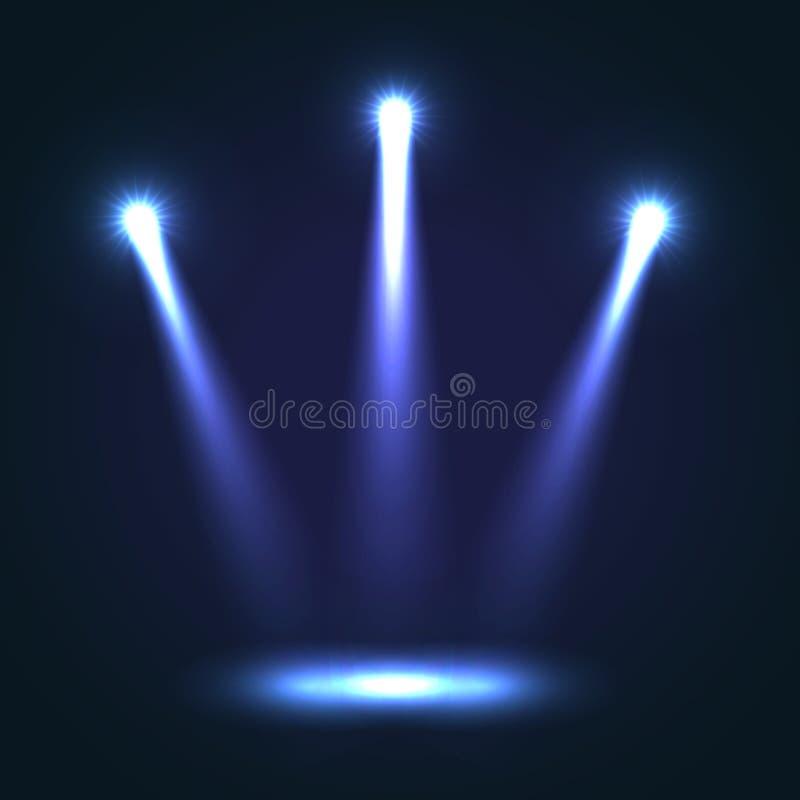 Fundo do vetor com os três projetores brilhantes ilustração stock