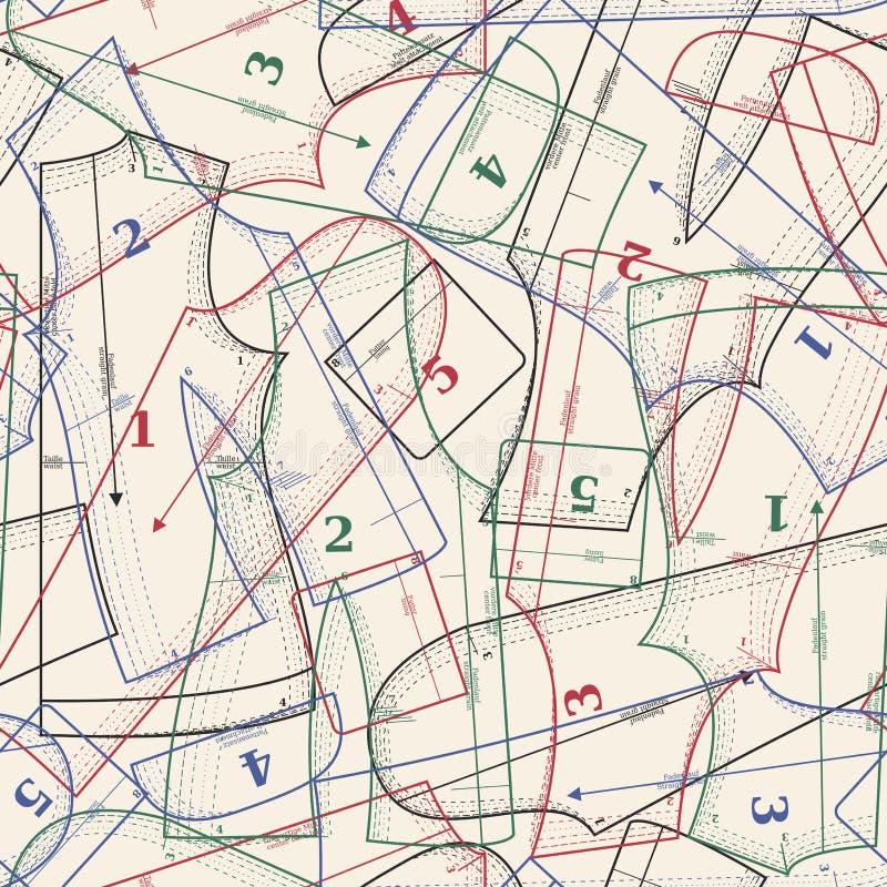 Fundo do vetor com testes padrões sewing ilustração stock