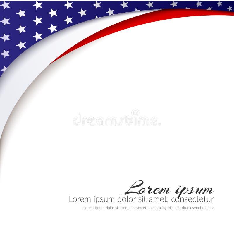 Fundo do vetor da bandeira americana para o Dia da Independência e o outro fundo patriótico dos eventos com estrelas e linhas ond ilustração royalty free