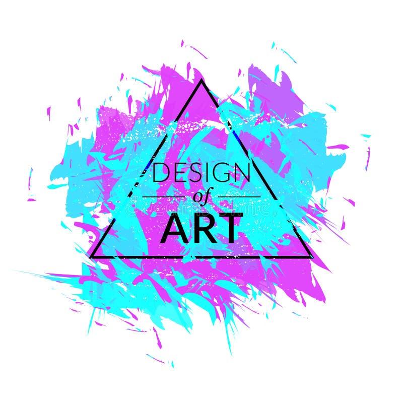 Fundo do vetor da escova de pintura com cor verde e violeta Quadro do triângulo com projeto do texto da arte Gráfico abstrato da  ilustração stock