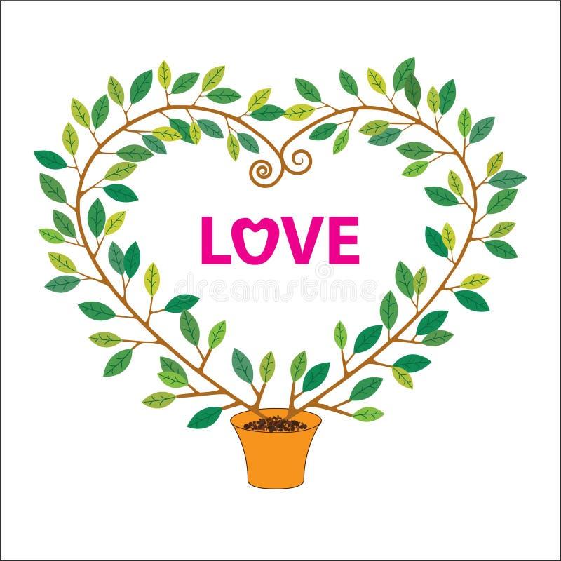 Fundo do vetor da forma do Valentim tree foto de stock