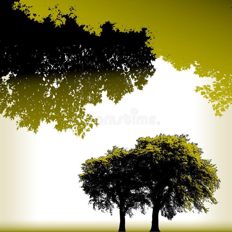 Fundo do vetor da paisagem de quatro árvores ilustração royalty free