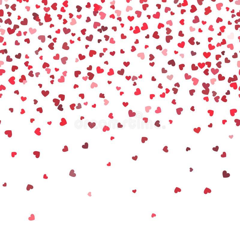 Fundo do vetor da queda do coração Amor e dia de são valentim ou teste padrão horizontal do casamento com corações de queda ilustração royalty free