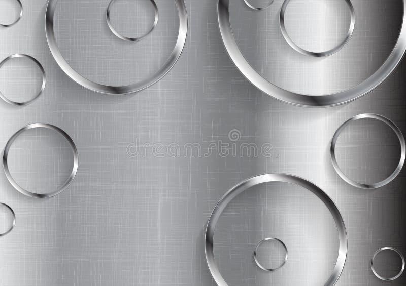 Fundo do vetor da tecnologia do metal com círculos ilustração royalty free