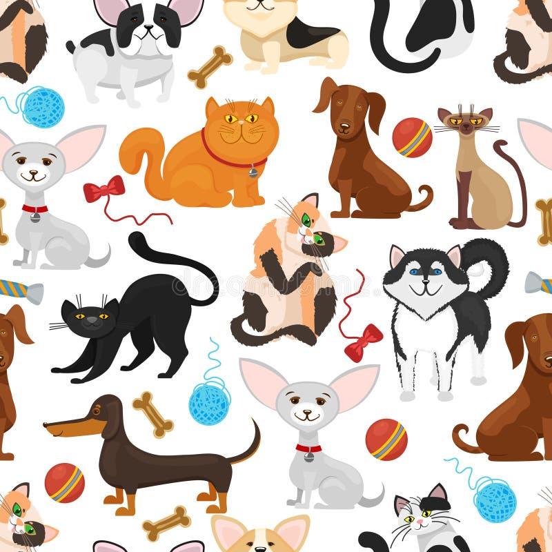 Fundo do vetor do animal de estimação Teste padrão sem emenda dos cães e gato ilustração do vetor