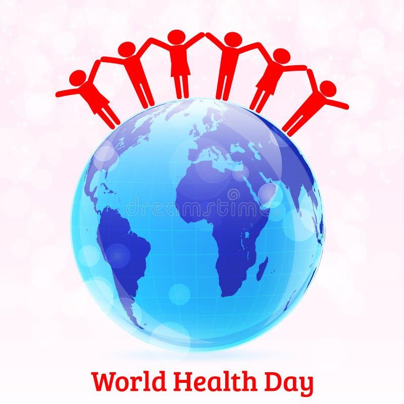 Fundo do vetor do dia de saúde de mundo com globo e povos ilustração do vetor