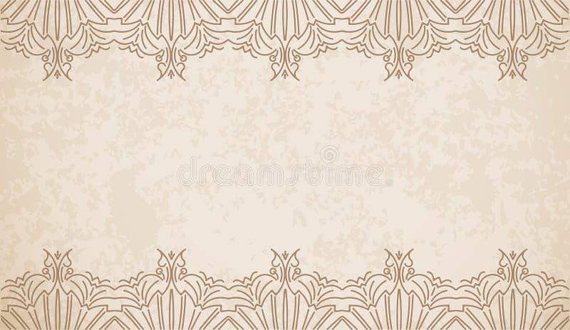 Fundo do vetor do estilo do vintage com beira geométrica de do teste padrão ilustração stock