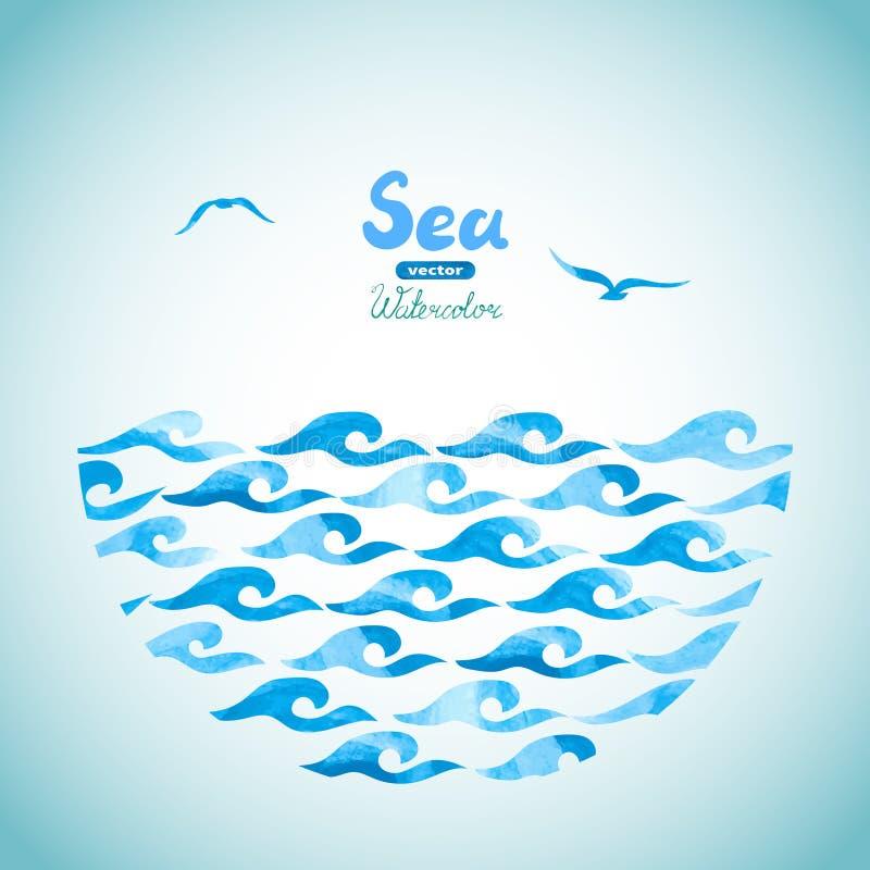 Fundo do vetor do mar da aquarela ilustração royalty free