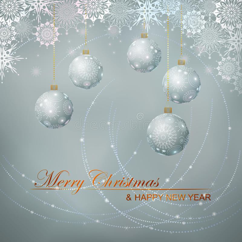 Fundo do vetor do Natal com esferas & laço da neve ilustração stock