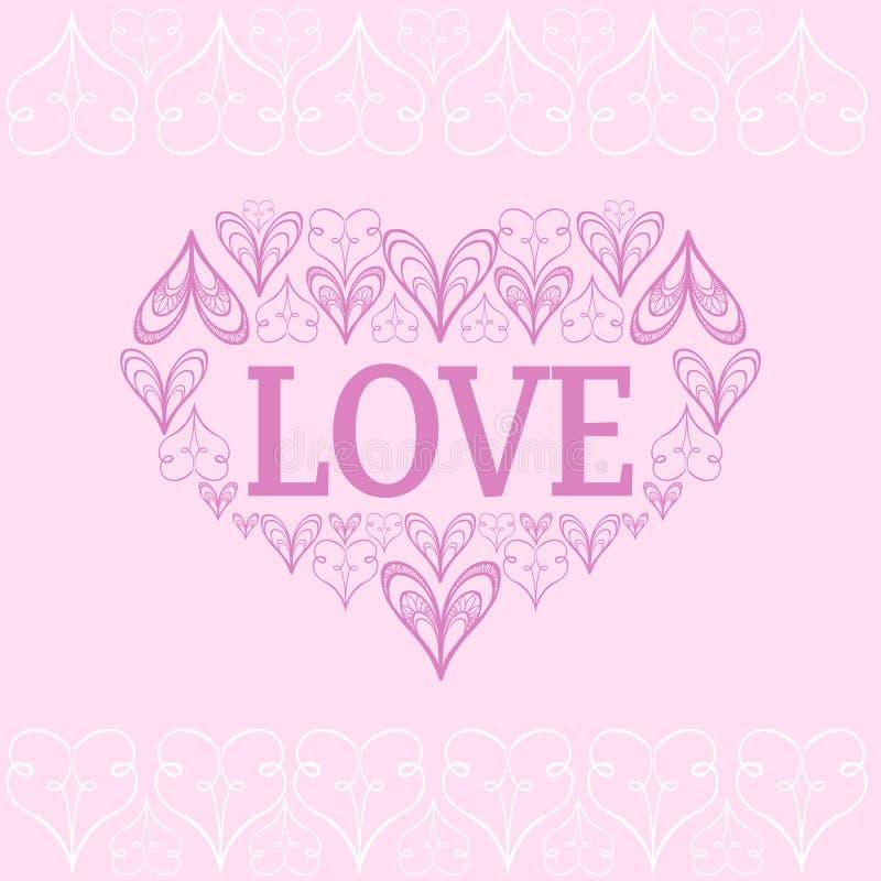 Fundo do vetor do Valentim s com corações estilizados ilustração stock