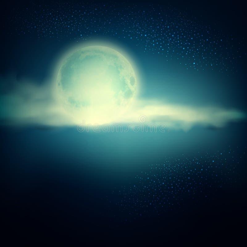 Fundo do vetor do vintage com Lua cheia e nuvens em um bl escuro ilustração stock