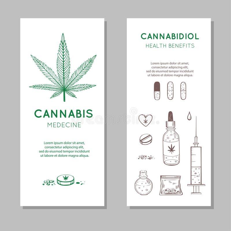 Fundo do vetor dos benefícios de saúde de Cannabidiol, bandeiras Grupo tirado m?o de Infographic de cannabis m?dico, marijuana Co ilustração stock