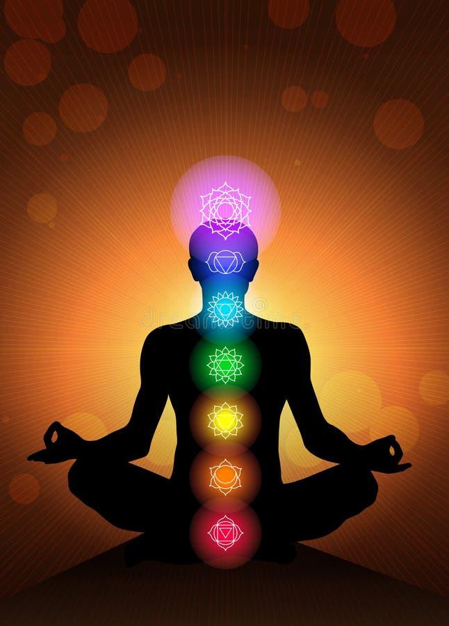 Fundo do vetor dos chakras do corpo humano ilustração royalty free