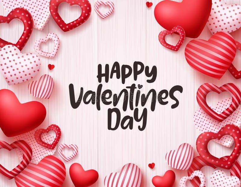 Fundo do vetor dos corações do dia de Valentim Projeto feliz da bandeira do cartão do dia de Valentim ilustração do vetor