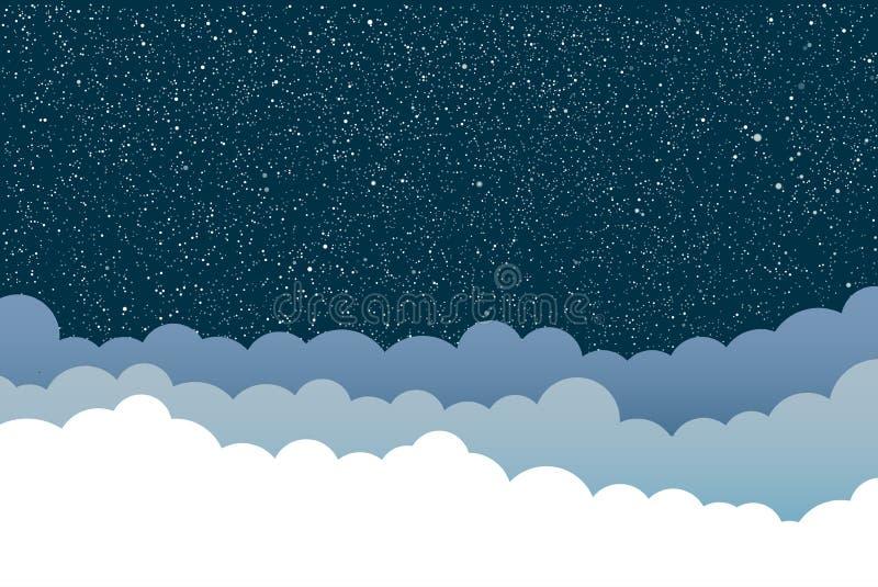 Fundo do vetor Nuvens Céu estrelado Eps 10 ilustração stock