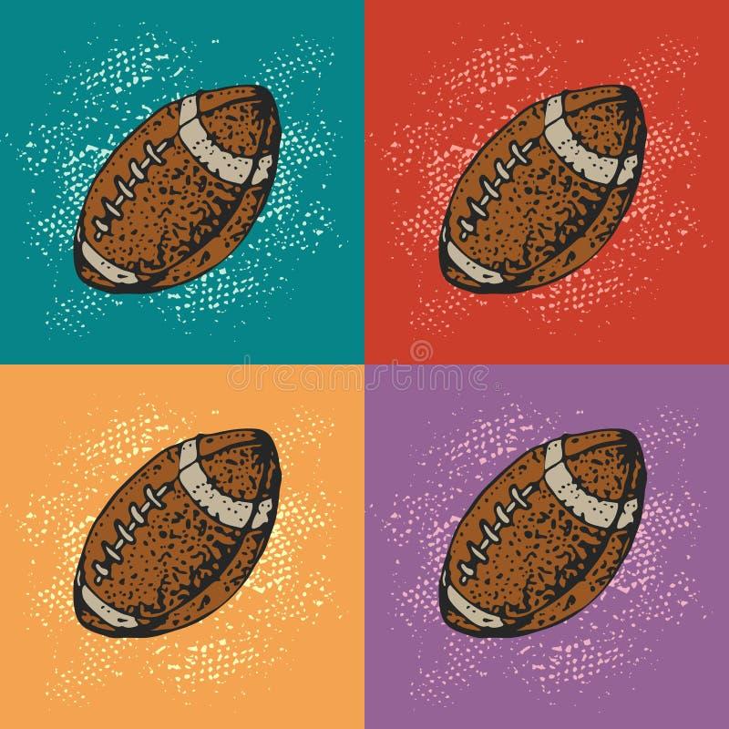 Fundo do vetor do pop art com a bola do futebol americano dos desenhos animados Esporte do rugby Estilo dos desenhos animados ilustração stock