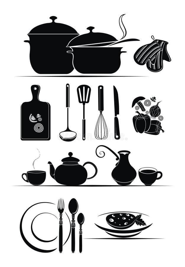 Fundo do vetor - utensílios da cozinha ilustração royalty free
