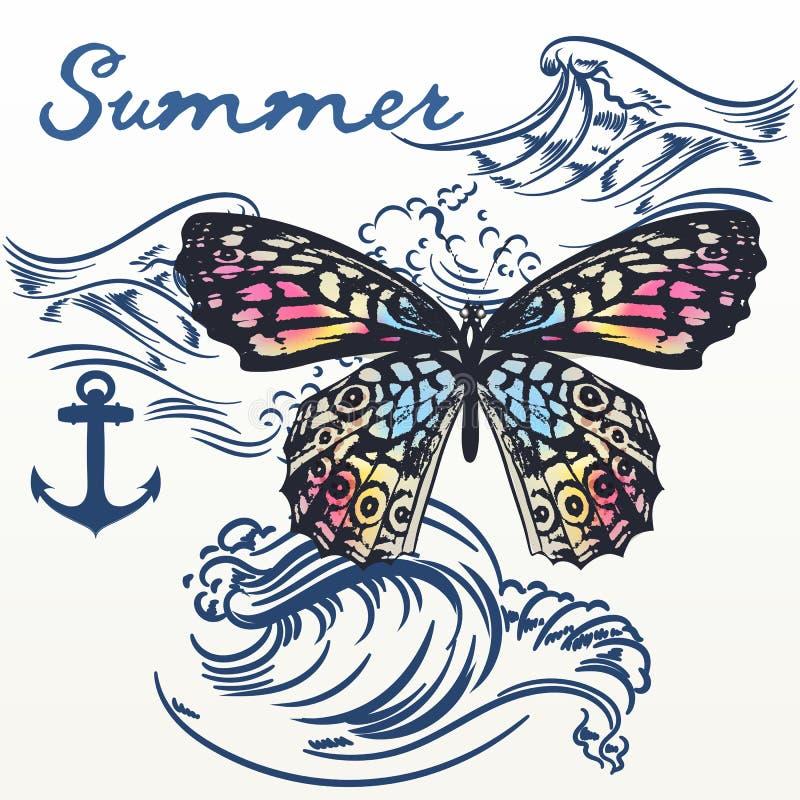 Fundo do vetor do verão da forma com as ondas da borboleta e de oceano ilustração royalty free