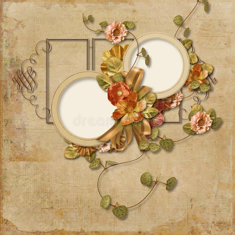 Fundo do vintage com as flores finas com quadro para fotos ilustração royalty free