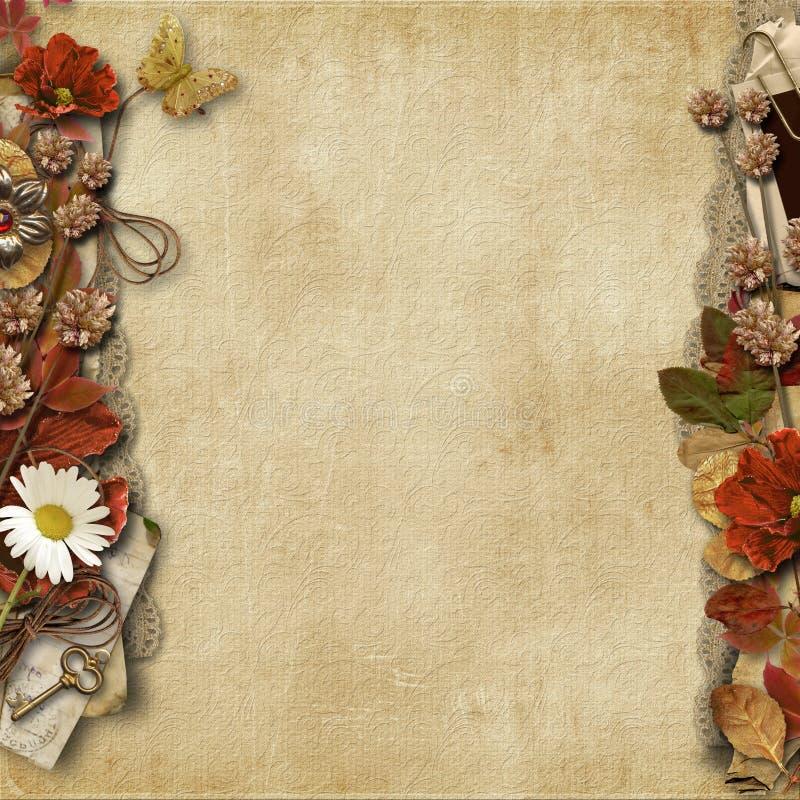 Fundo do vintage com beira floral bonita ilustração stock