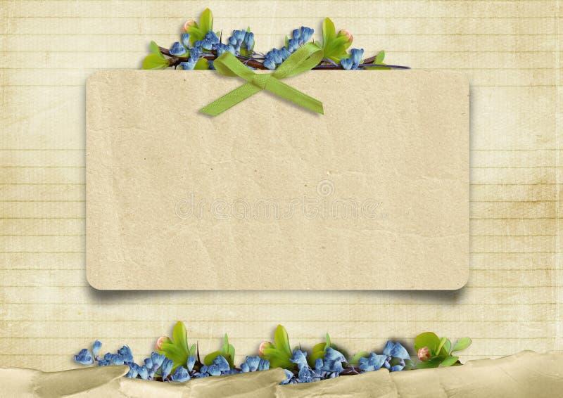 Fundo do vintage com cartão e as flores azuis ilustração royalty free