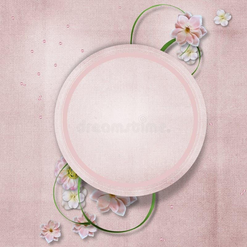 Fundo do vintage com flores delicadas ano novo feliz 2007 ilustração do vetor