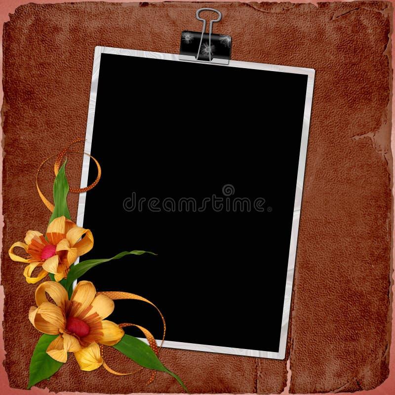 Fundo do vintage com frame e flores ilustração do vetor