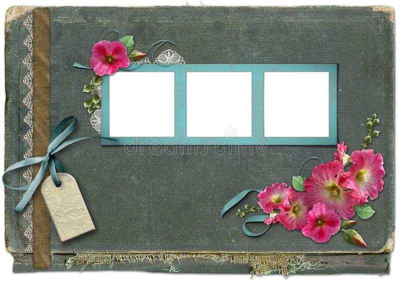 Fundo do vintage com frames para fotos. ilustração do vetor