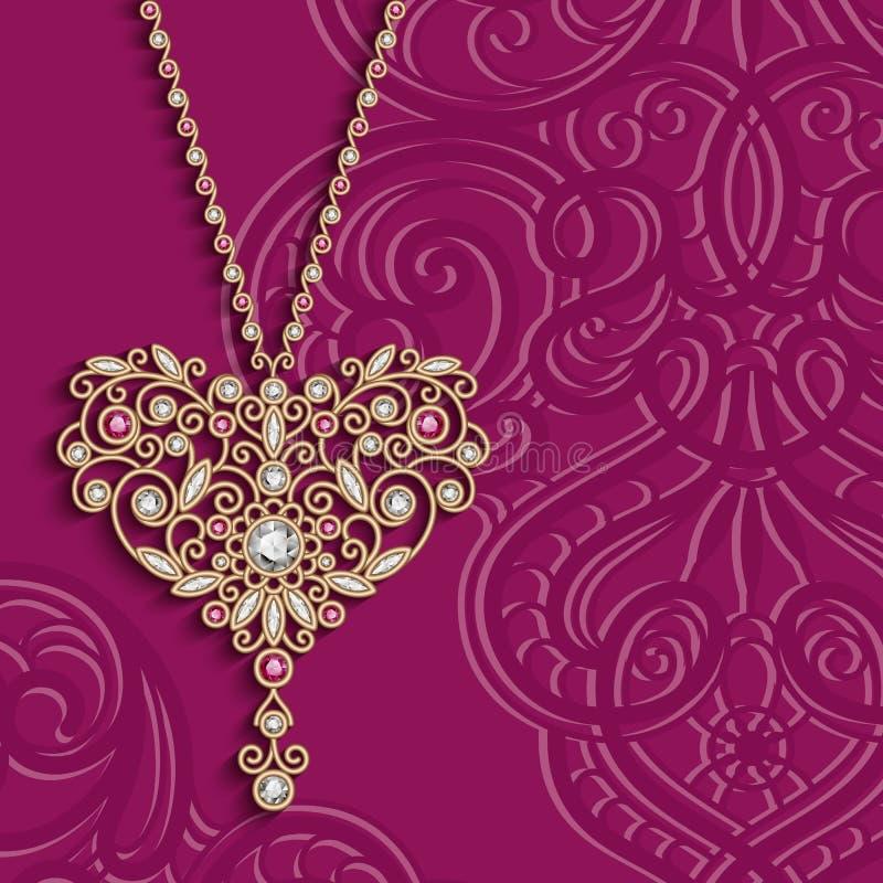 Fundo do vintage com o pendente do coração da joia do ouro ilustração stock