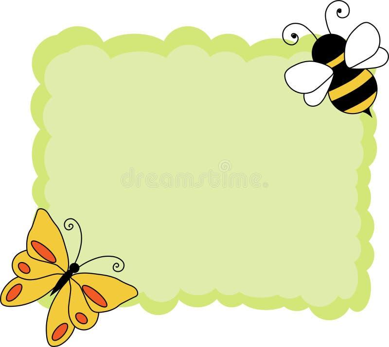 Fundo do vintage com papel de nota do verde do decorationdCute da beira do papel com abelha e borboleta ilustração stock