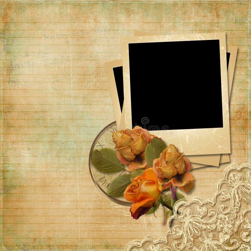 Fundo do vintage com Polaroid-quadro e as rosas desvanecidas ilustração royalty free