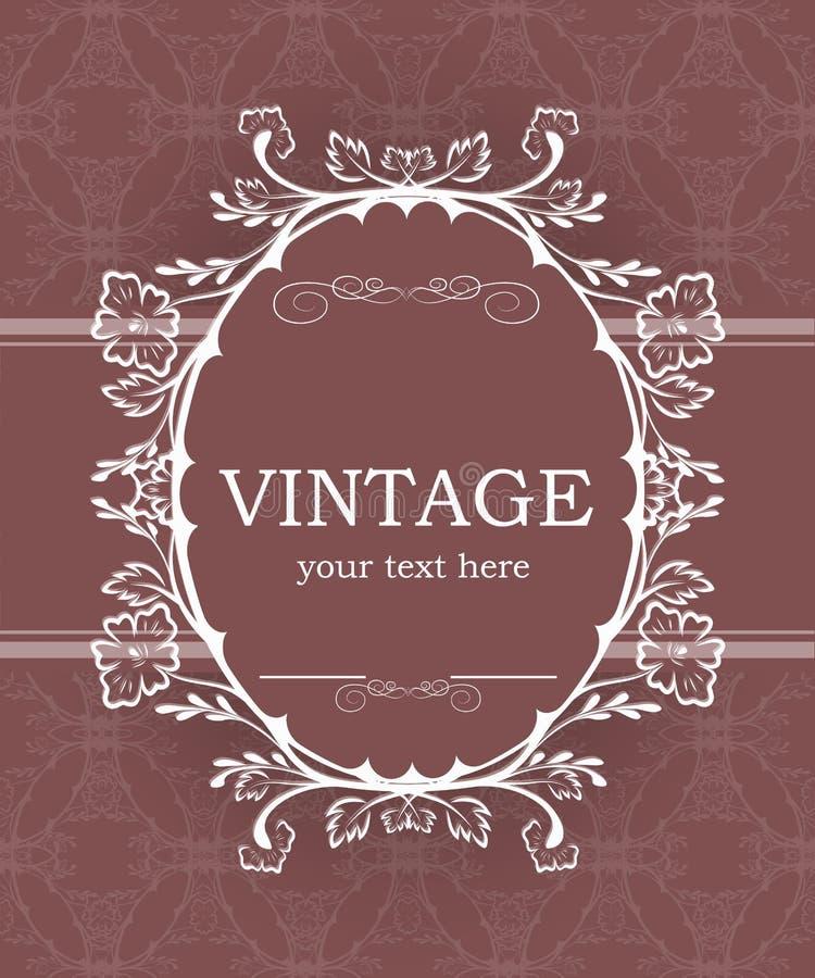 Fundo do vintage com quadro decorativo Molde elegante do elemento do projeto com lugar para seu texto Beira floral cor-de-rosa ilustração stock