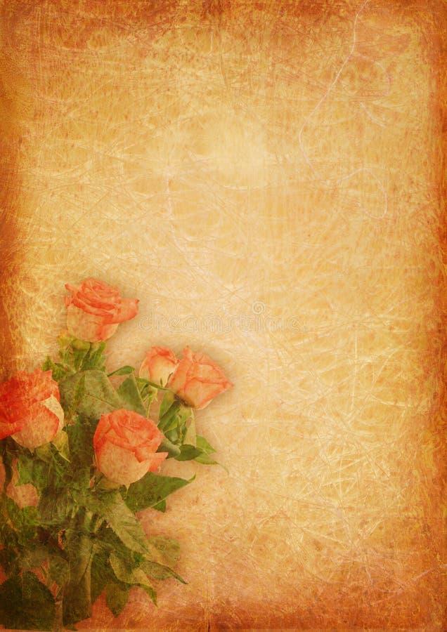 Fundo do vintage com rosas fotos de stock royalty free