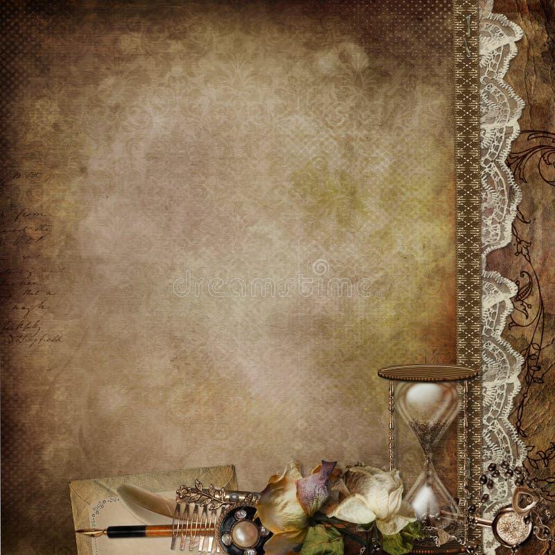 Fundo do vintage com rosas desvanecidas, ampulheta e a decoração retro ilustração do vetor