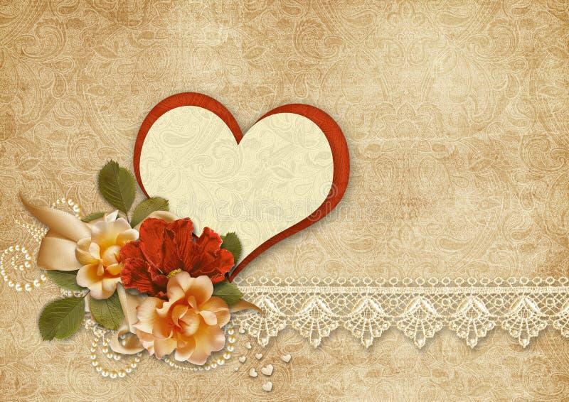 Fundo do vintage com rosas e coração Cartão dos Valentim ilustração stock