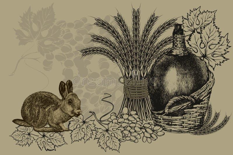 Fundo do vintage com uma garrafa do vinho, das orelhas do trigo, de um coelho e de uvas Ilustra??o do vetor fotografia de stock royalty free