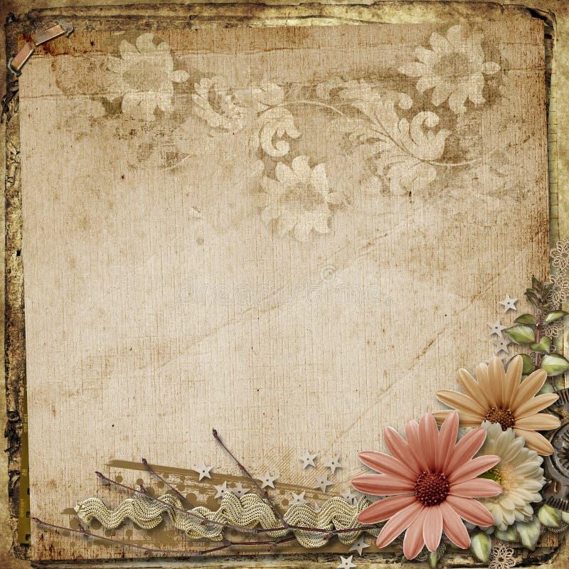 Fundo do vintage do Grunge com flores ilustração do vetor