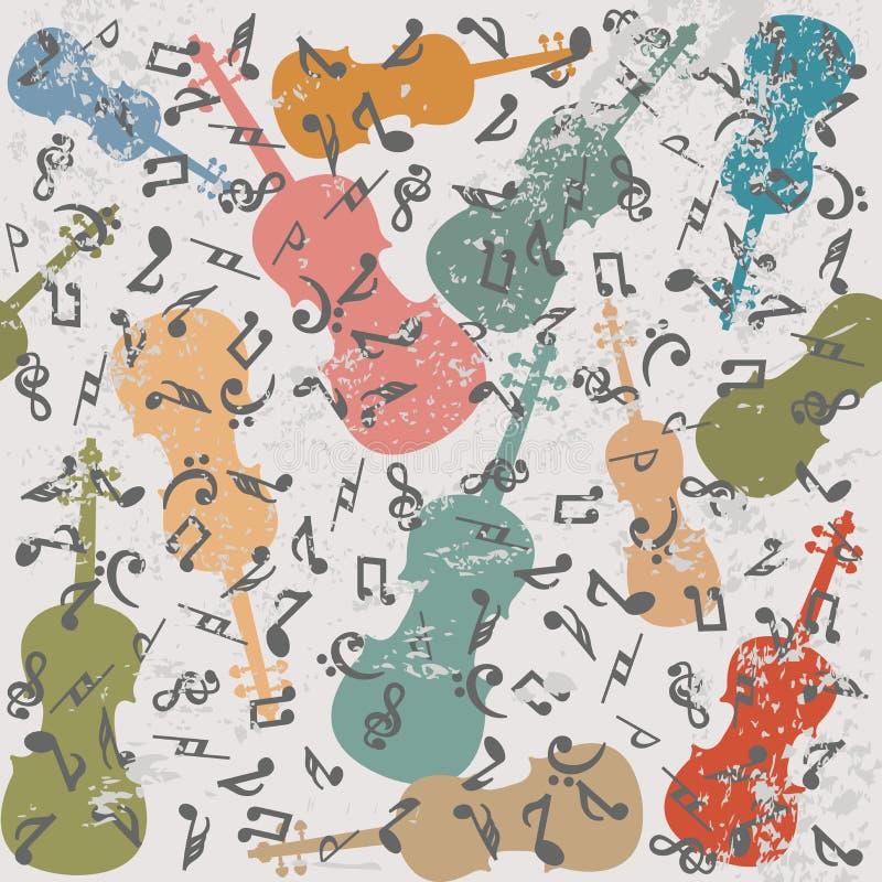 Fundo do vintage do Grunge com violinos e notas musicais ilustração stock
