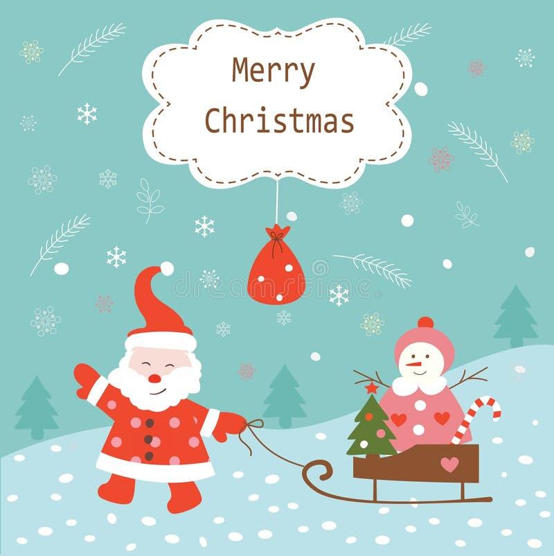 Fundo do vintage do Natal com Santa e boneco de neve ilustração royalty free