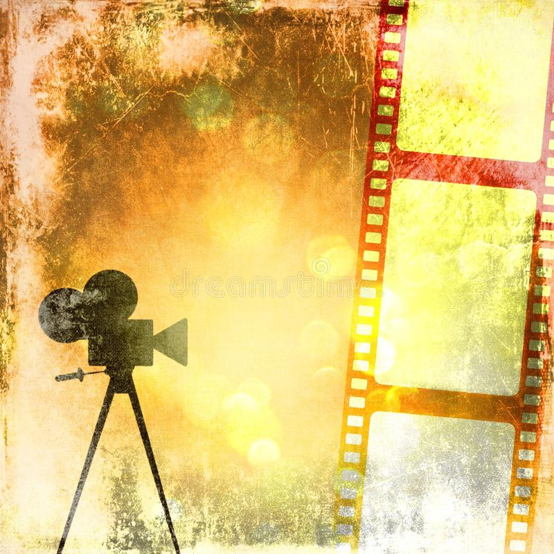 Fundo do vintage do Sepia com tira do filme e o cinecamera velho ilustração royalty free