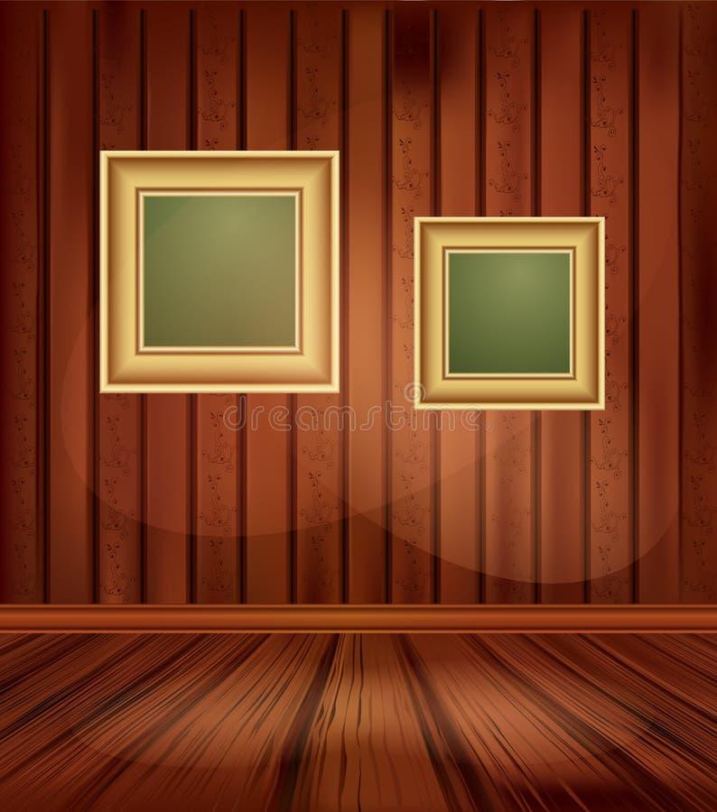 Fundo do vintage do vetor com dois frames do ouro ilustração stock