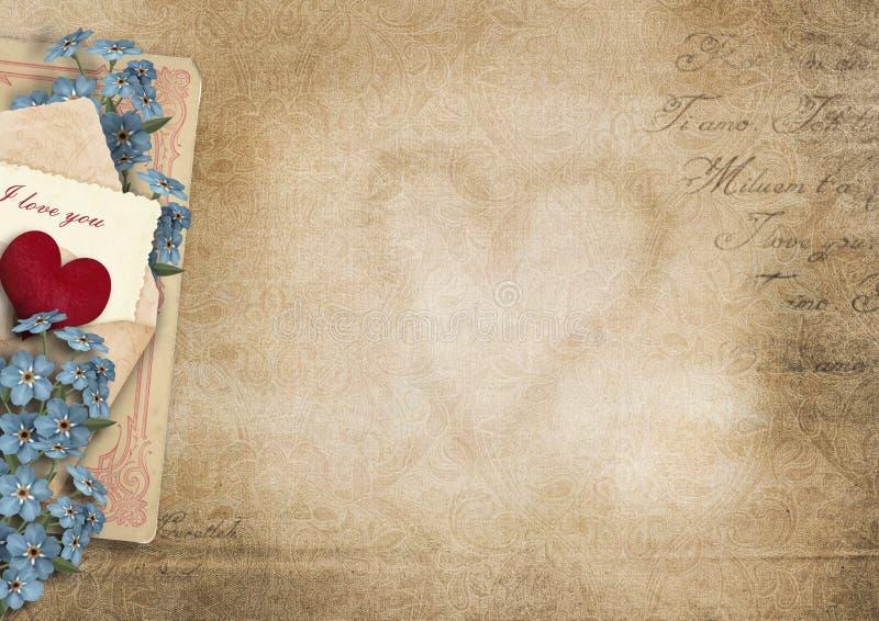 Fundo do vintage eu te amo Cartão do Valentim ilustração royalty free