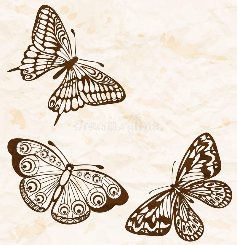 Fundo do vintage. Papel amarrotado velho com as borboletas do vôo no canto. ilustração royalty free