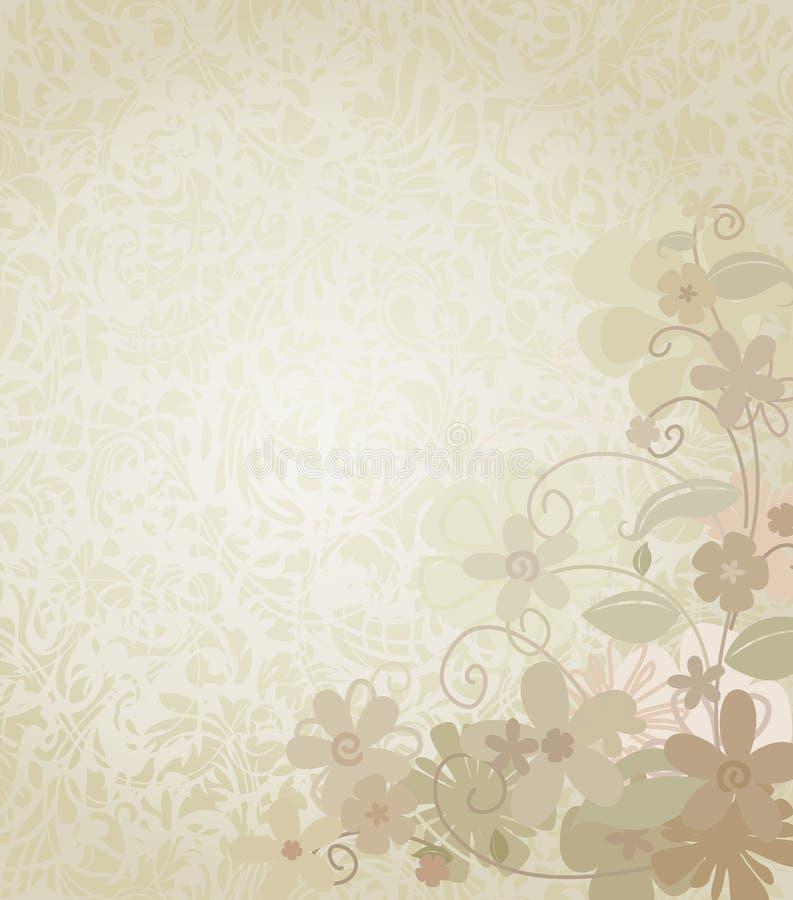 Fundo do vintage quadro com as flores de canto da beira ilustração stock
