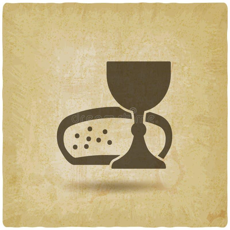 Fundo do vintage do vinho e do pão do símbolo do comunhão ilustração do vetor